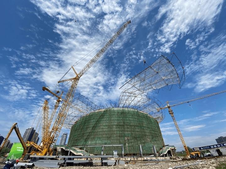 """杭州""""国球中心""""主体落成 大运河亚运公园明年3月见面"""