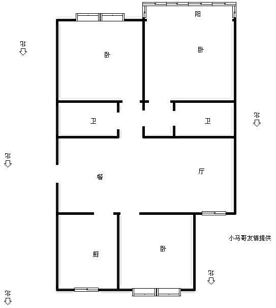 05年宋都房产 单价总价低的电梯房 三房两卫格局好
